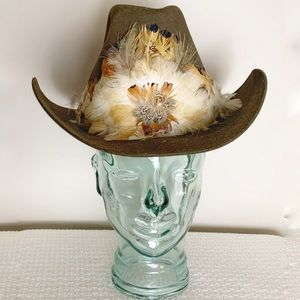 Vintage Biltmore cowboy hat with feathers.